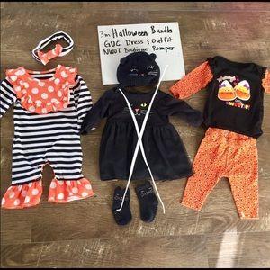 NWOT 3-6 month Boutique Halloween Outfit Bundle